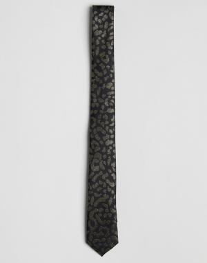 ASOS Золотистый галстук с леопардовым принтом. Цвет: черный
