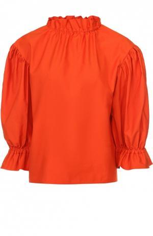 Топ прямого кроя с укороченными объемными рукавами Atlantique Ascoli. Цвет: оранжевый