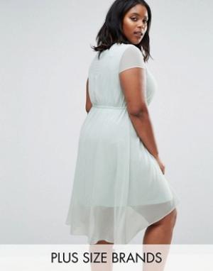 Koko Короткое приталенное платье с удлиненной задней частью Plus. Цвет: синий