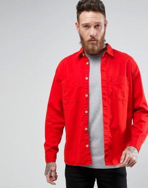 Nudie Jeans Рубашка с длинными рукавами и карманами Co Calle. Цвет: красный