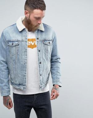 Levis Выбеленная куртка с искусственным мехом Type 3. Цвет: синий