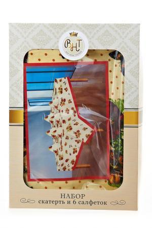 Скатерть и салфетки, 140х140см Best Home Textiles. Цвет: бежевый, красный, зеленый