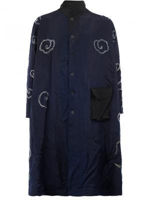 Пальто с цветочной вышивкой By Walid. Цвет: синий