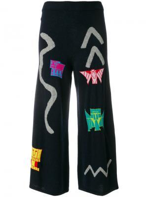 Трикотажные брюки вязки интарсия Peter Pilotto. Цвет: синий