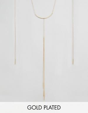 Pilgrim Позолоченное ожерелье с подвеской. Цвет: золотой