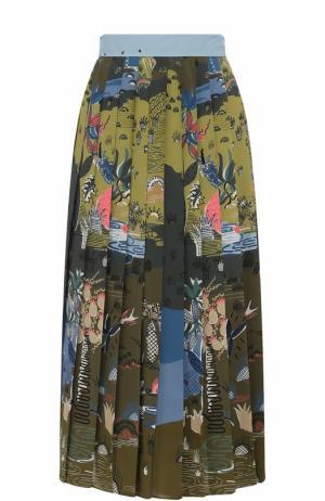 Плиссированная шелковая юбка с принтом Valentino. Цвет: голубой