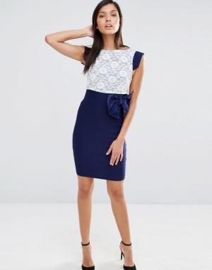 Vesper Платье с кружевным топом и коротким рукавом. Цвет: темно-синий