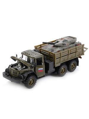 Машина  металлическая инерционная Зил 131 военный с танком, свет+звук . Технопарк. Цвет: зеленый