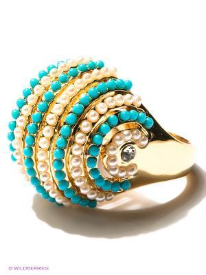 Кольцо Infiniti. Цвет: бирюзовый, белый, золотистый