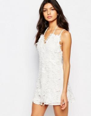 Foxiedox Платье мини с цветочным кружевом Clover. Цвет: белый