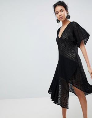 Keepsake Кружевное платье с V-образным вырезом. Цвет: черный