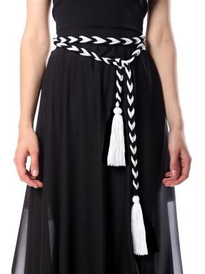 Пояс безразмерный вязаный Косичка черно-белый с белой кисточкой SEANNA. Цвет: черный