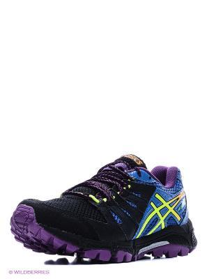 Беговые кроссовки GEL-FujiAttack 4 ASICS. Цвет: черный, синий, лиловый