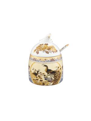 Горшочек для меда Павлин на бежевом Elan Gallery. Цвет: бежевый