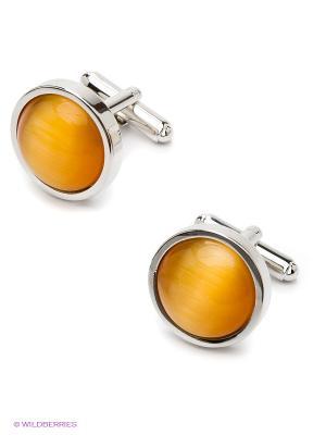 Запонки MONDIGO. Цвет: серебристый, оранжевый, желтый