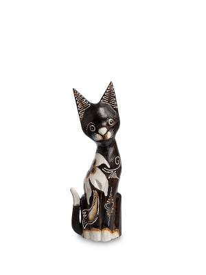 Статуэтка Кошка 30см (албезия, о.Бали) Decor & gift. Цвет: черный