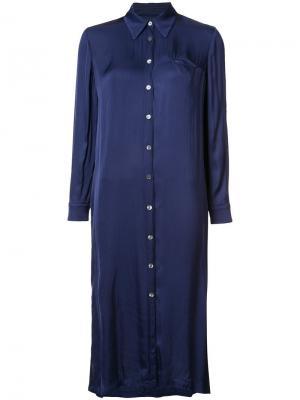 Платье-рубашка средней длины Raquel Allegra. Цвет: синий