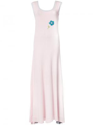 Вязаное пплатье-макси дизайна колор-блок Natasha Zinko. Цвет: розовый и фиолетовый