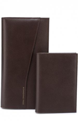 Комплект из бумажника и обложки для паспорта Smythson. Цвет: коричневый