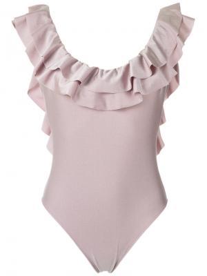 Слитный купальник с оборками Adriana Degreas. Цвет: розовый и фиолетовый