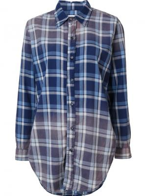 Рубашка в клетку NSF. Цвет: синий