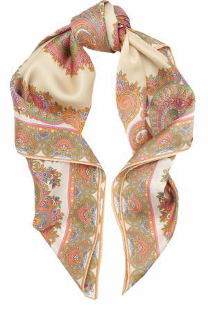 Шелковый платок с принтом Michele Binda. Цвет: кремовый
