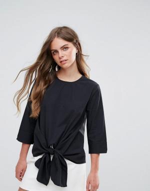 Pieces Блузка с бантиком. Цвет: черный