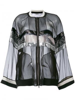 Sheer sequin stripe bomber jacket Aviù. Цвет: чёрный