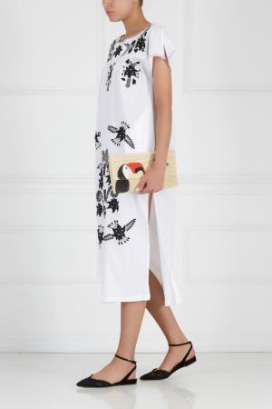 Хлопковое платье с вышивкой Sensi Studio. Цвет: белый, черный