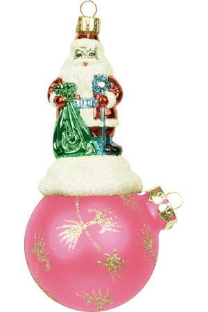 Украшение Дед Мороз на шаре Mister Christmas. Цвет: золотой, розовый