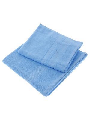 Набор из 2х махровых полотенец голубой - 50*90, 70х140, УзТ-НПМ-102-06 Aisha. Цвет: голубой