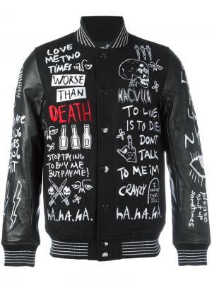 Вышитая куртка-бомбер Haculla. Цвет: чёрный