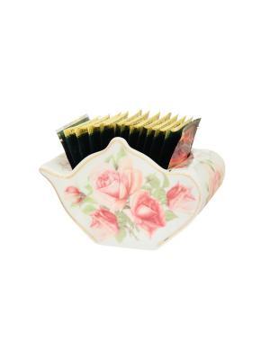 Подставка для чайных пакетиков Розовая фантазия Elan Gallery. Цвет: белый, розовый