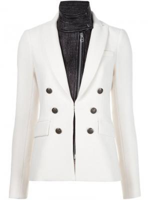 Пиджак с воротником-стойкой Veronica Beard. Цвет: белый