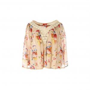 Блузка с V-образным вырезом, цветочным рисунком и рукавами 3/4 RENE DERHY. Цвет: бежевый