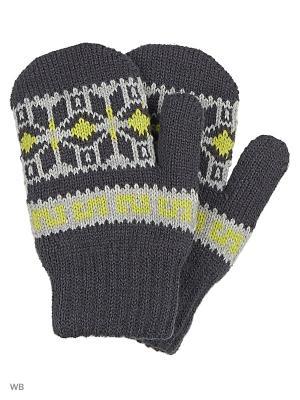 Варежки Milana Style. Цвет: серый, темно-серый, желтый