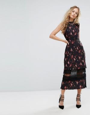 Foxiedox Плиссированное платье миди с кружевной вставкой и цветочным принтом Fo. Цвет: мульти