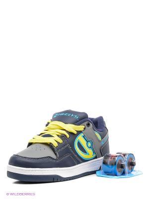 Роликовые кроссовки Heelys. Цвет: синий, серый, желтый