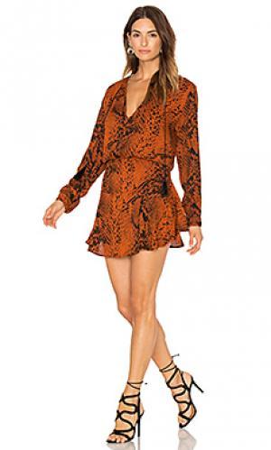 Мини платье с принтом pilar Karina Grimaldi. Цвет: ржавый