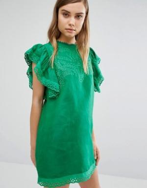 Style Mafia Зеленое платье с вышивкой. Цвет: зеленый