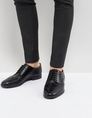 Hudson London Черные кожаные броги H Indus. Цвет: черный