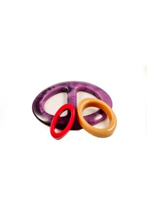 Пряжка Волшебная пуговица Евро-овал и кольцо для шарфа madam Пряжкина. Цвет: фиолетовый, горчичный, красный
