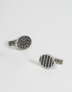 Emporio Armani Серебристые запонки с шевронным узором. Цвет: серебряный