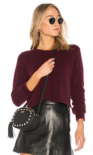 Короткий свитер с рваными краями Autumn Cashmere. Цвет: вишня