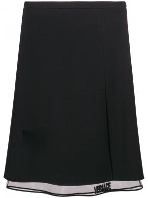 Многослойная юбка-миди Versace. Цвет: чёрный