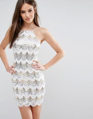 Rare Облегающее платье с пайетками и фигурной отделкой London. Цвет: белый