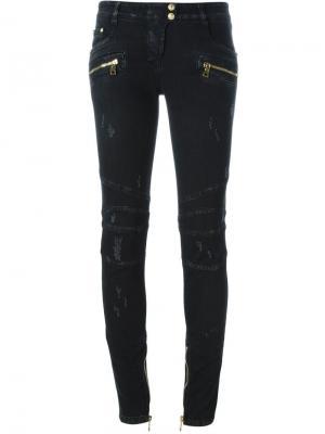 Байкерские джинсы Balmain. Цвет: чёрный