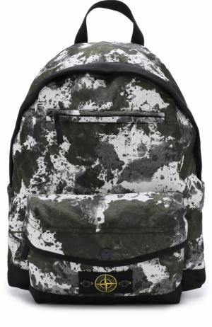 Текстильный рюкзак с принтом Stone Island. Цвет: хаки