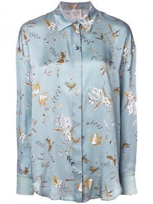 Рубашка с цветочным принтом Forte. Цвет: синий