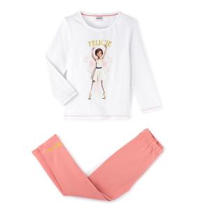 Пижама двухцветная с длинными рукавами, 2 - 10 лет BALLERINA. Цвет: белый + розовый